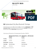 _11_ City Bus Route & Timings, Hyderabad (TSRTC) Map, First & Last Bus