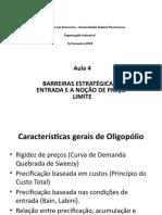 AULA4 -Organização Industrial 2018 - Preco Limite e Desdobramentos
