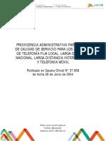 Providencia Administrativa Parámetros de Calidad de Servicio Para Los Servicios de Telefonía Fija Local Larga Distancia Nacional Larga Distancia Internacional y Telefonía Móvil