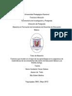 Factores Que Inciden en El Logro de Los Aprendizajes en La Asignatura de Matematicas de Los Estudiantes Del Centro de Educacion Basica Luis Andres Zuniga
