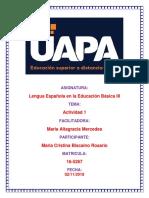 Tarea 1 de Lengua Española III de Maria Cristina