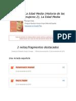 """Notas de """" La Edad Media (Historia de Las Mujeres 2), La Edad Media """""""