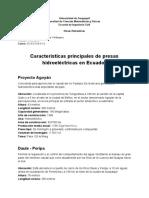 Características Principales de Presas Hidroeléctricas en Ecuador