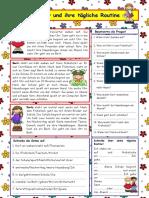 Kinder Und Ihre Tagliche Routine Losung Arbeitsblatter Leseverstandnis 35114