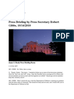 The White House Press Briefing by Press Secretary Robert Gibbs, 10/14/2010