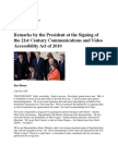Remarks by the President at the Signing of the 21st Century Communications and Video Accessibility Act of 2010