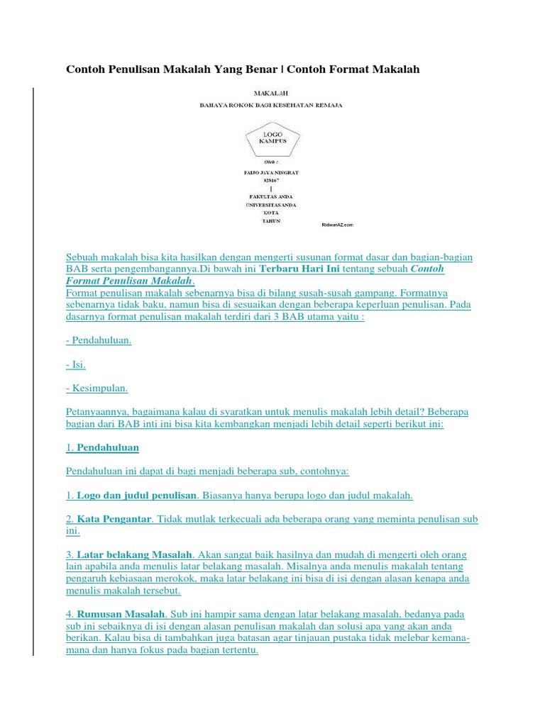 87030748 Contoh Penulisan Makalah Yang Benar Docx