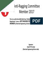 Anti-Ragging Committee Member 2017