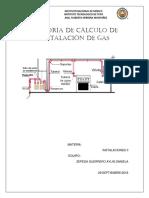 MEMORIA de CÁLCULO de Instalación de Gas 1