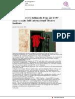 Il Teatro-carcere italiano in Cina per i 70 anni dell'International Theatre Institute - Giustizia.it, 22 novembre 2018