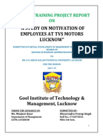 A Study on Motivation of Employees at Tvs Motors Lucknow