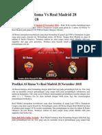 Prediksi as Roma vs Real Madrid 28 November 2018