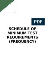 Schedule of minimum test requirements