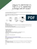 How to Configure TL-WA701ND V1