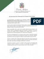 Mensaje del presidente Danilo Medina con motivo del Día Internacional de la Eliminación de la Violencia contra la Mujer