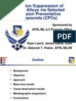 Corrosion Suppression of Aircraft Alloys via Selected Corrosion Preventative Compounds (CPCs)