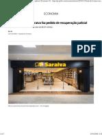 Rede de Livrarias Saraiva Faz Pedido de Recuperação Judicial