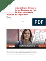 Sala Confirma Sentencia Dictada a Favor de Korina Rivadeneyra y en Contra de La Superintendencia Nacional de Migraciones