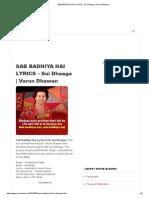 Sab Badhiya Hai Lyrics - Sui Dhaaga _ Varun Dhawan
