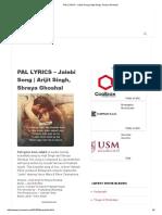 PAL LYRICS - Jalebi Song _ Arijit Singh, Shreya Ghoshal