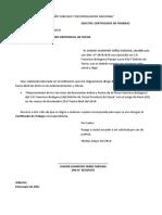 solicitud certificado de trabajo