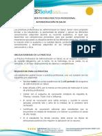 Lineamientos Práctica Profesional Administración en Salud 1 Agosto 2018