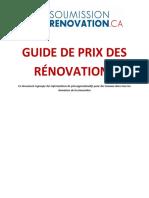 Guide de Prix Des Renovations Mai 2018