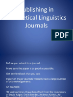 Publishing in Theoretical Linguisitics
