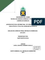Análisis Del Derecho Penal Republica Dominicana 2014-2015