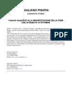 PISAPIA ADERISCE ALLA MANIFESTAZIONE DELLA FIOM-CGIL DI SABATO 16 OTTOBRE