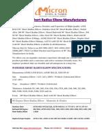 90 Degree Short Radius Elbow Manufacturers