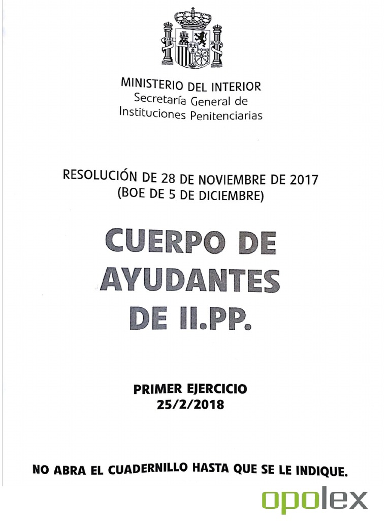 Opolex Examen Ayudante Instituciones Penitenciarias 2018
