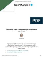 Vítor Bento_ Sobre a Boa Governação Das Empresas - Observador