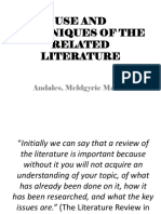 Use and Techniques of the Review of Related Literature
