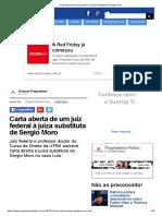 Carta Aberta de Um Juiz Federal à Juíza Substituta de Sergio Moro