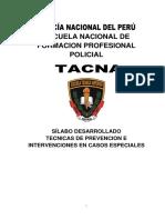 Silabo de Tecnicas y Prevencion e Intervencion en Casos Especiales