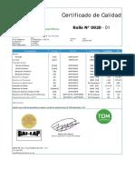 Certificado de Calidad HDPE Liso Nominal 1.00 Mm of 150920- 01 Al 20 (20 Rollos)