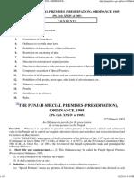 The Punjab Special Premises Preservation Ordinance 1985