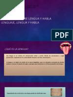 Lenguaje Lengua y Habla Expo