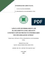 """""""APLICACIÓN DE HERRAMIENTA DE  PLANEAMIENTO LOOK AHEAD EN  CONSTRUCCIÓN DE PROYECTO INMOBILIARIO  MULTIFAMILIAR DE 10 PISOS"""""""