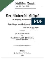 Die Päpstlichen Decrete Vom 18 Juli 1870 I