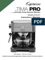 Instructivo Cafetera Capresso Ultima Pro