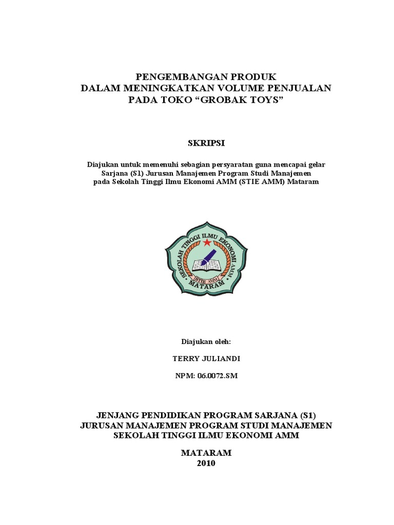 Contoh Skripsi Ekonomi Manajemen Contoh Soal Dan Materi Pelajaran 2
