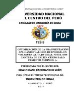 Optimización de La Fragmentación Aplicando Valores de Energía en Voladura Al Tajo Vidal, Nivel 4190 Cantera de Caliza Cerro Palo Cemento Andino s. a.