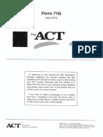 ACT Form 71G (April 2013)