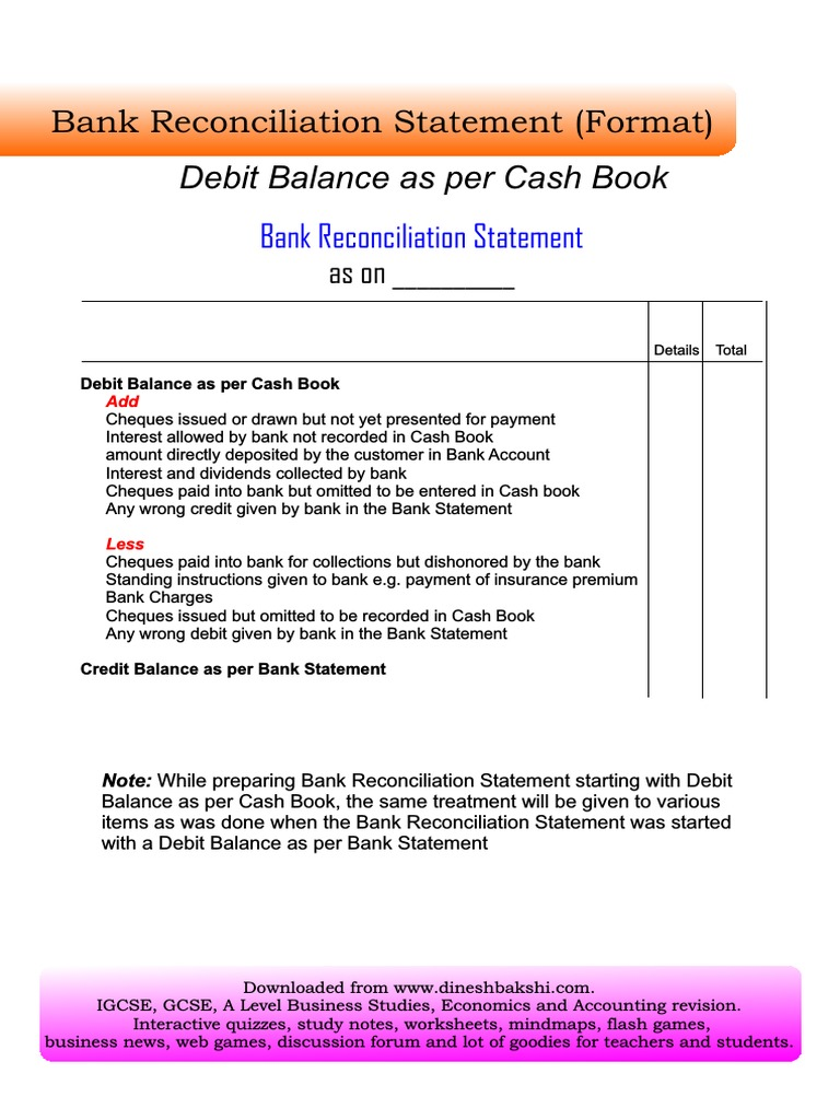 Bank Reconciliation Statement Fv Pdf
