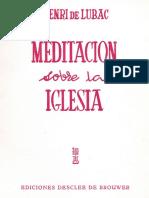 Meditación Sobre La Iglesia de H. De Lubac