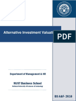 Course Outline Alternative Investment Valuation- Muhammad Owais Qarni