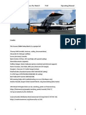 FSX/P3D Cessna T206H Soloy Turbine Pac Mark 2 V1 0 Operating Manual