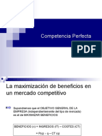 Maximizacion de Beneficios en Competencia Perfecta